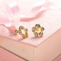 aretes de 18k oro circones para mujeres -BREGG154-18813