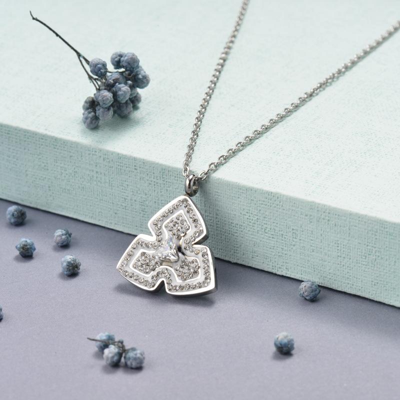 Collar de Cristal en Acero Inoxidable -SSNEG143-14828-S