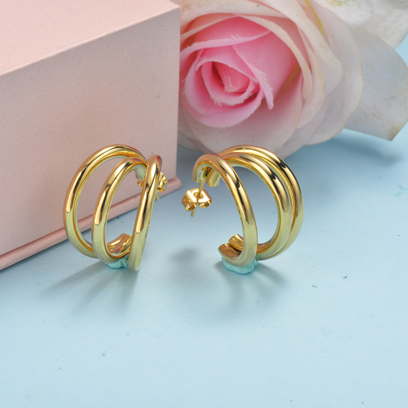 Stainless Steel Hoop Earrings -SSEGG143-15897-G