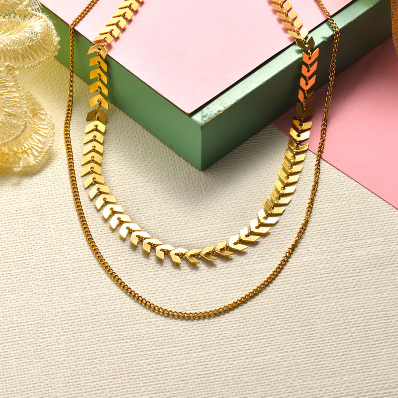 Stainless Steel Choker Multilayered Necklace -SSNEG143-15923-G