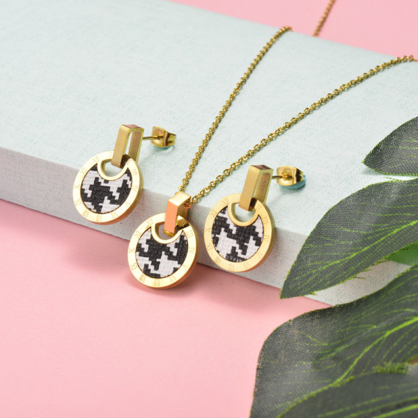 Stainless Steel Leather Jewelry Sets -SSCSG143-15899-G