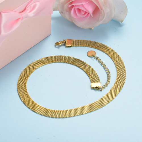 Stainless Steel Choker Necklace-SSNEG143-15896-G