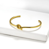 Stainless Steel Gold Bangle Bracelet -SSBTG143-15894-G