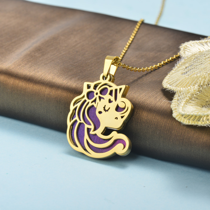 Stainless Steel Unicorn Necklace -SSNEG143-15909-G
