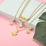 Stainless Steel Multi Layer Necklace Sets -SSCSG143-15913-G
