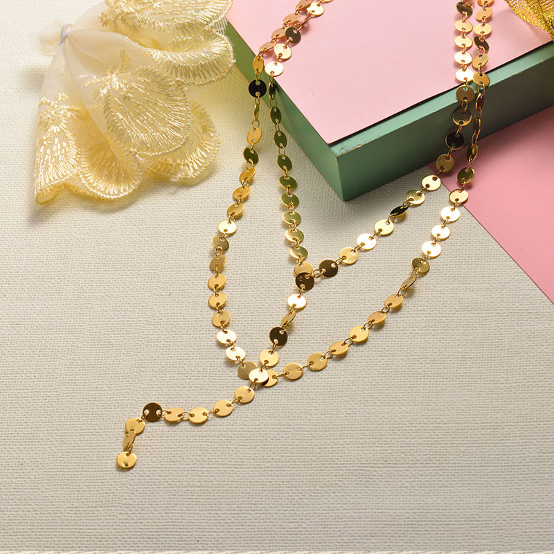 Stainless Steel Choker Multilayered Necklace -SSNEG143-15924-G