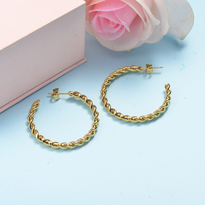 Stainless Steel Hoop Earrings -SSEGG143-15847-G