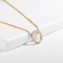 Collar de Cristal en Acero Inoxidable -SSNEG143-13111-G