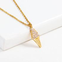 Collar de Cristal en Acero Inoxidable -SSNEG143-13199-G