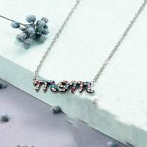Collar de Cristal en Acero Inoxidable -SSNEG143-10886-S
