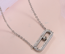 Collar de Cristal en Acero Inoxidable -SSNEG143-10884-S