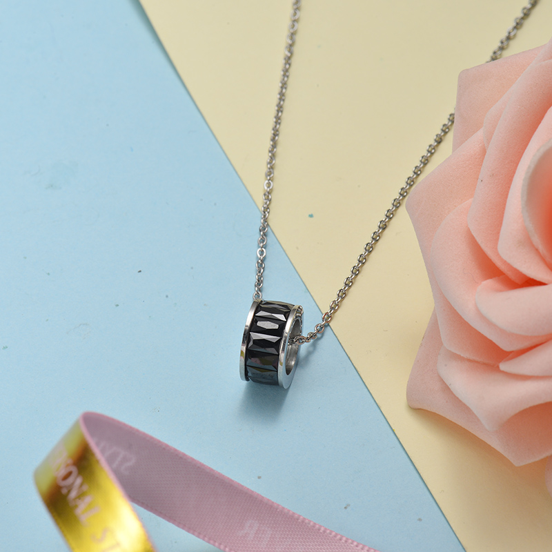 Collar de Acero Inoxidable para Mujer -SSNEG143-21069-S