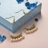 Pendientes de Perla en Acero Inoxidable -SSEGG142-21459
