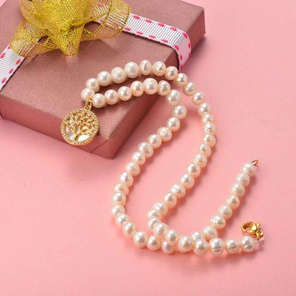 Collar de Perla Agua Dulce para Mujer -SSNEG142-20154