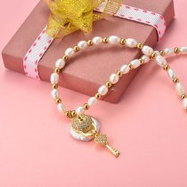 Collar de Perla Agua Dulce para Mujer -SSNEG142-20155