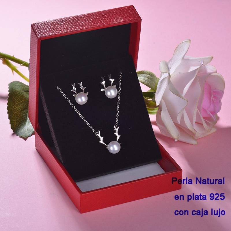 Conjunto de Plata 925 con Perla Natural Agual Dulce para Mujer -PLCSG191-22245