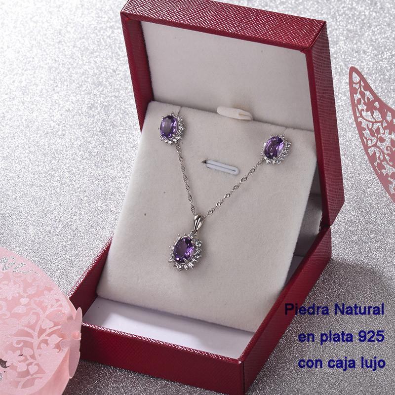 Conjunto de Plata 925 con Perla Natural Amethyst para Mujer -PLCSG192-22250