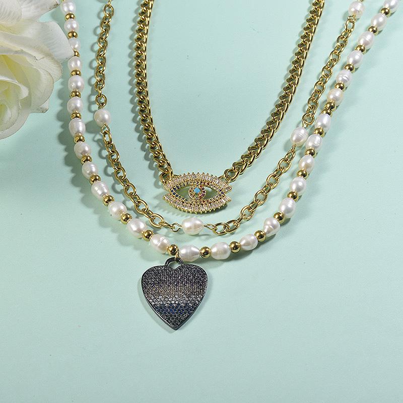 Collar de acero inoxidable para mujer -SSNEG155-23072