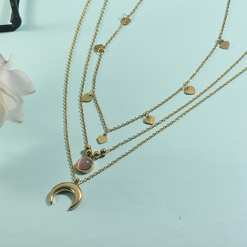 Collar de acero inoxidable para mujer -SSNEG155-23074