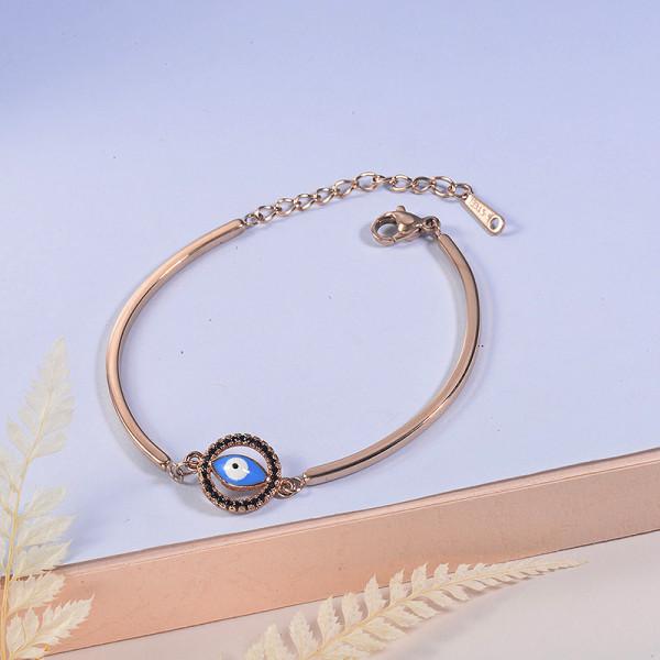 pulsera de acero con chamrs bronce para mujer -SSBTG154-23069