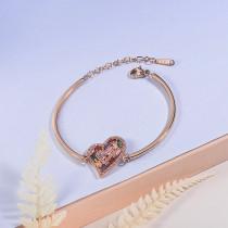 pulsera de acero con chamrs bronce para mujer -SSBTG154-23071