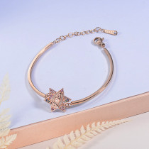 pulsera de acero con chamrs bronce para mujer -SSBTG154-23068