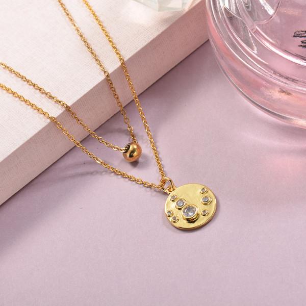 Collares de Laton con cadena de acero -SSNEG142-23910