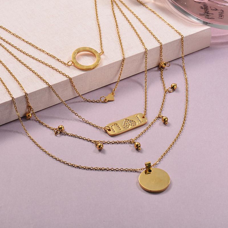 Collares de Laton con cadena de acero -SSNEG142-23901
