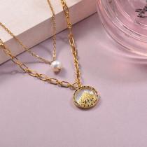Collares de Laton con cadena de acero -SSNEG142-23914