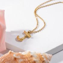 Collares de Inicial Letra en Acero Inoxidable -SSNEG143-24674