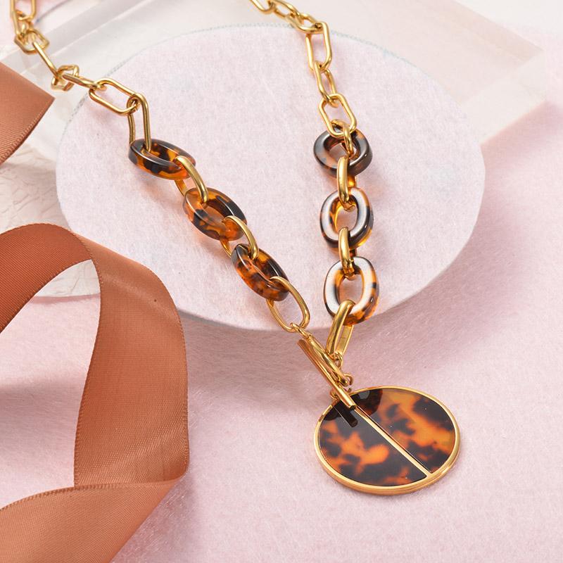 Collares Grueso de Leopardo en acero Inoxidable para Mujer -SSNEG142-25253