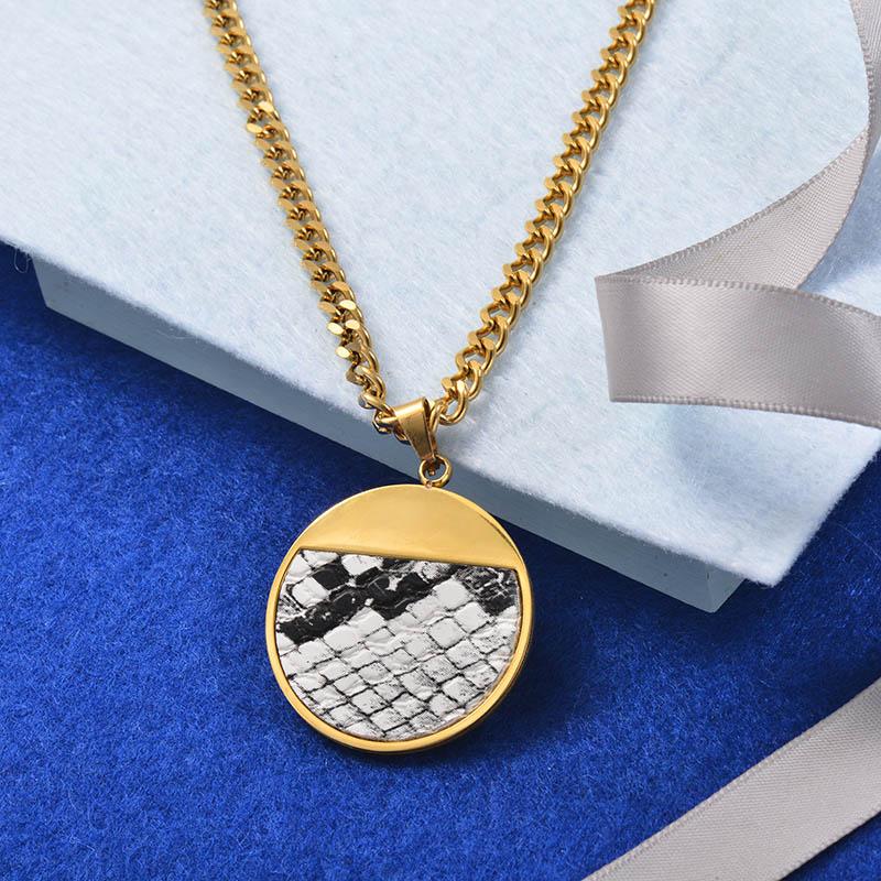 Collares Grueso de Cuero en acero Inoxidable para Mujer -SSNEG142-25264