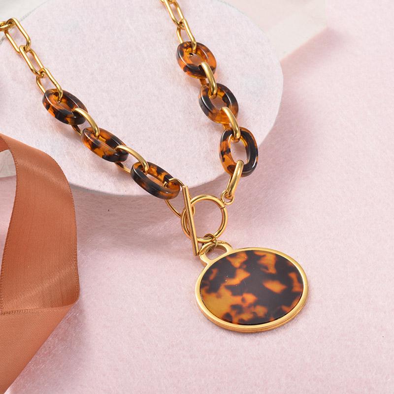 Collares Grueso de Leopardo en acero Inoxidable para Mujer -SSNEG142-25249