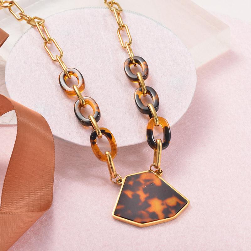 Collares Grueso de Leopardo en acero Inoxidable para Mujer -SSNEG142-25250