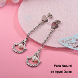 Aretes con perla Natural en acero inoxidable -SSEGG143-15975-S