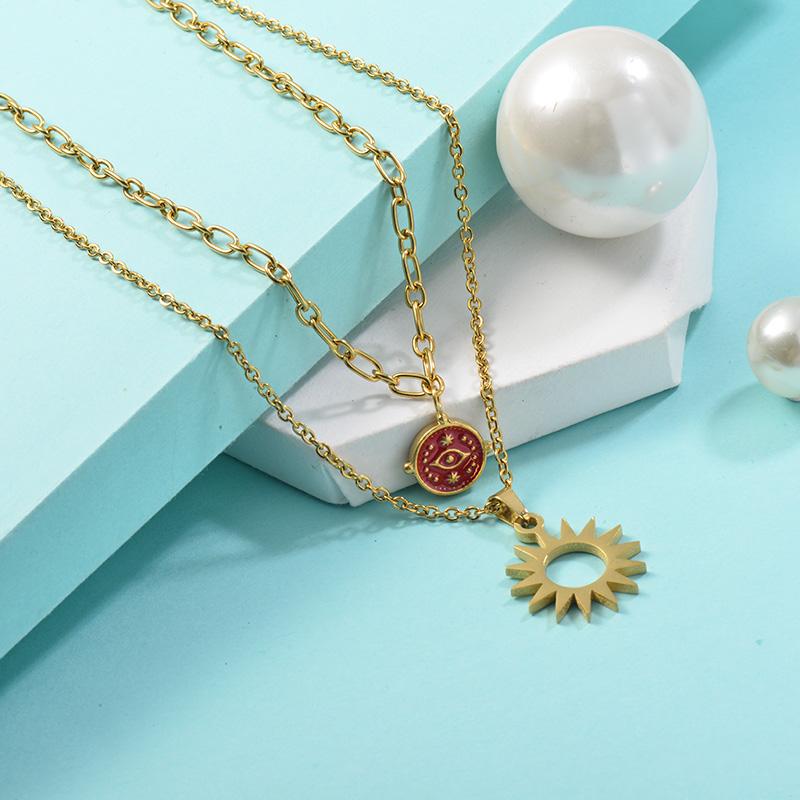 Collares de Acero Inoxidable para Mujer -SSNEG142-25455