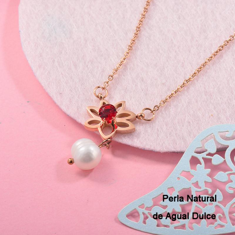 Collares con perla Natural en acero inoxidable -SSNEG143-12523