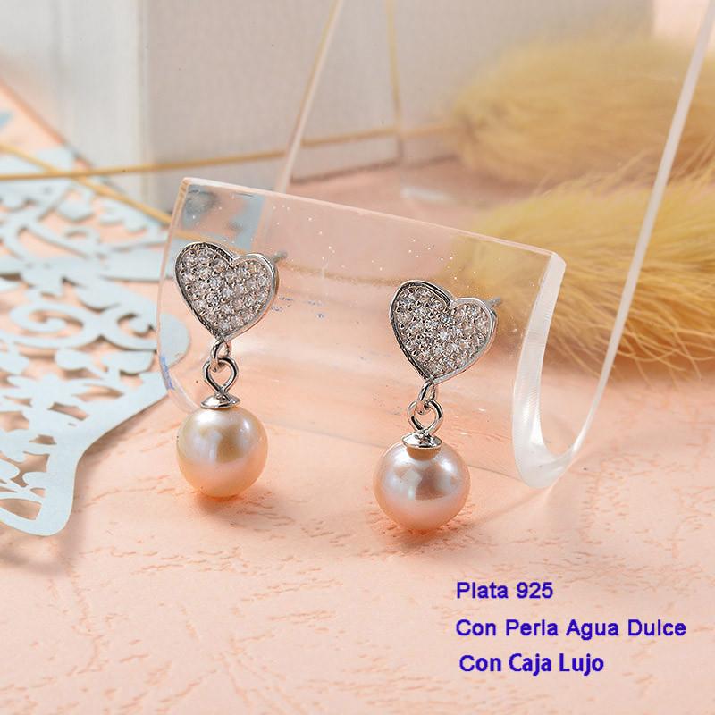 Aretes de Plata 925 con perla agua dulce -PLEGG191-25434