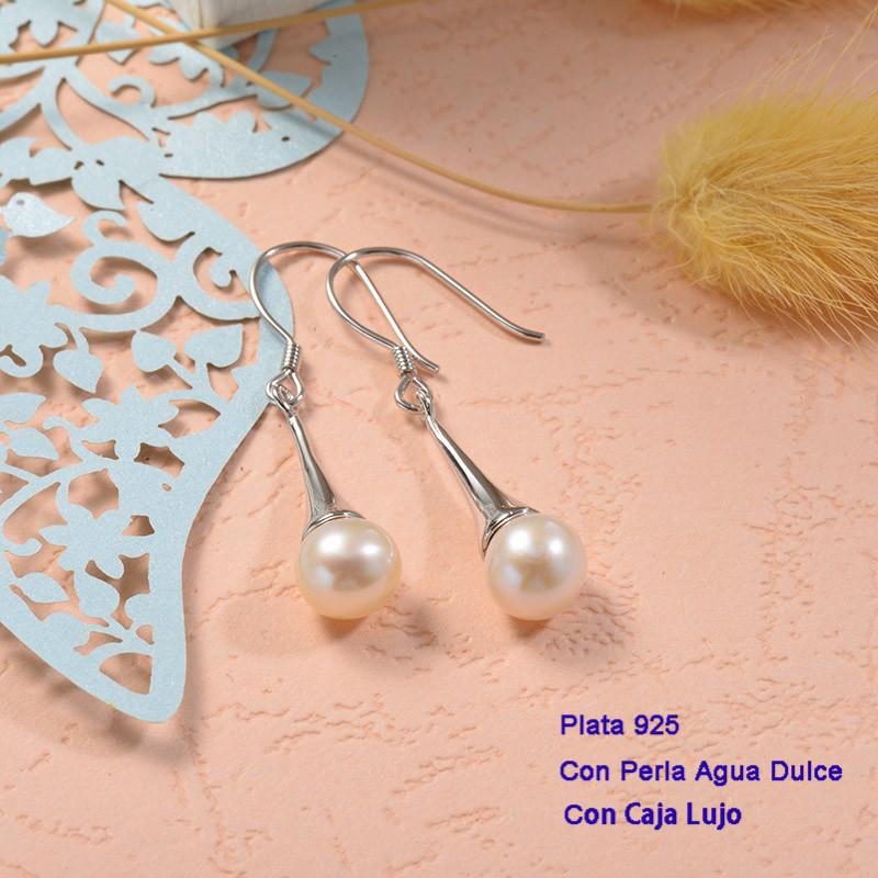 Aretes de Plata 925 con perla agua dulce -PLEGG191-25433