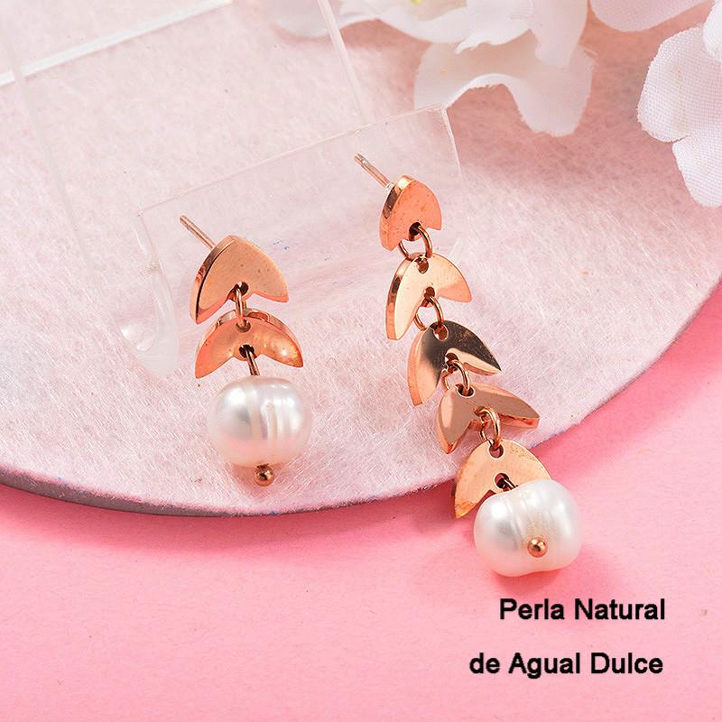 Aretes con perla Natural en acero inoxidable -SSEGG143-9127