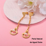 Aretes con perla Natural en acero inoxidable -SSEGG143-9315