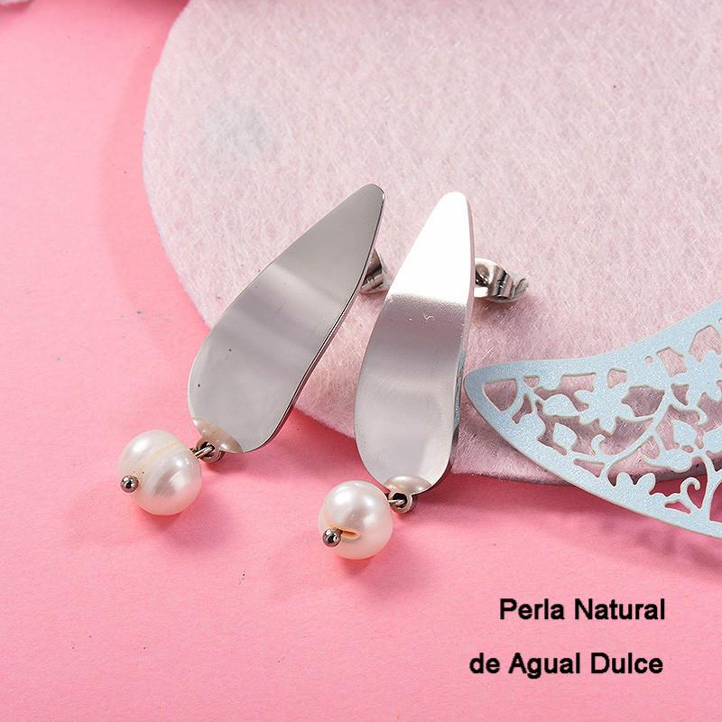 Aretes con perla Natural en acero inoxidable -SSEGG143-9124