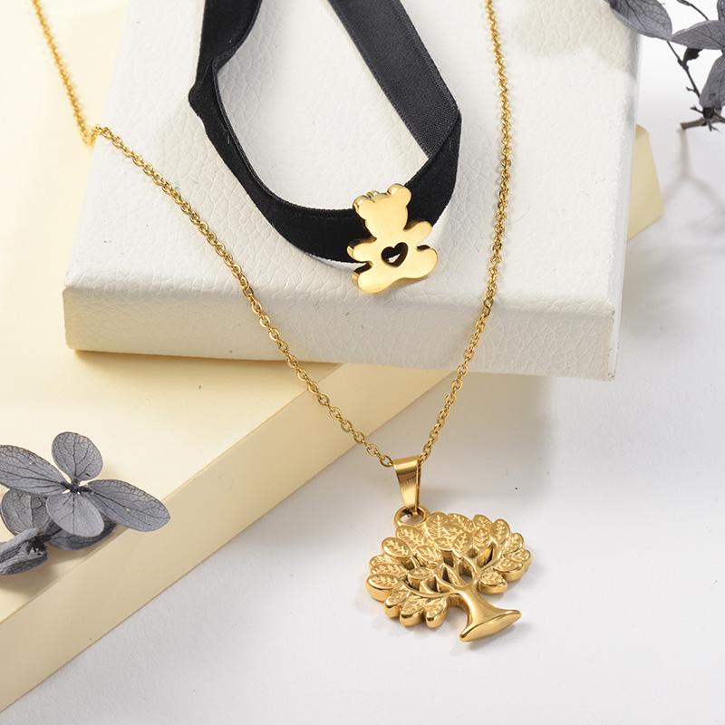 Collares de Acero Inoxidable para Mujer -SSNEG142-25484