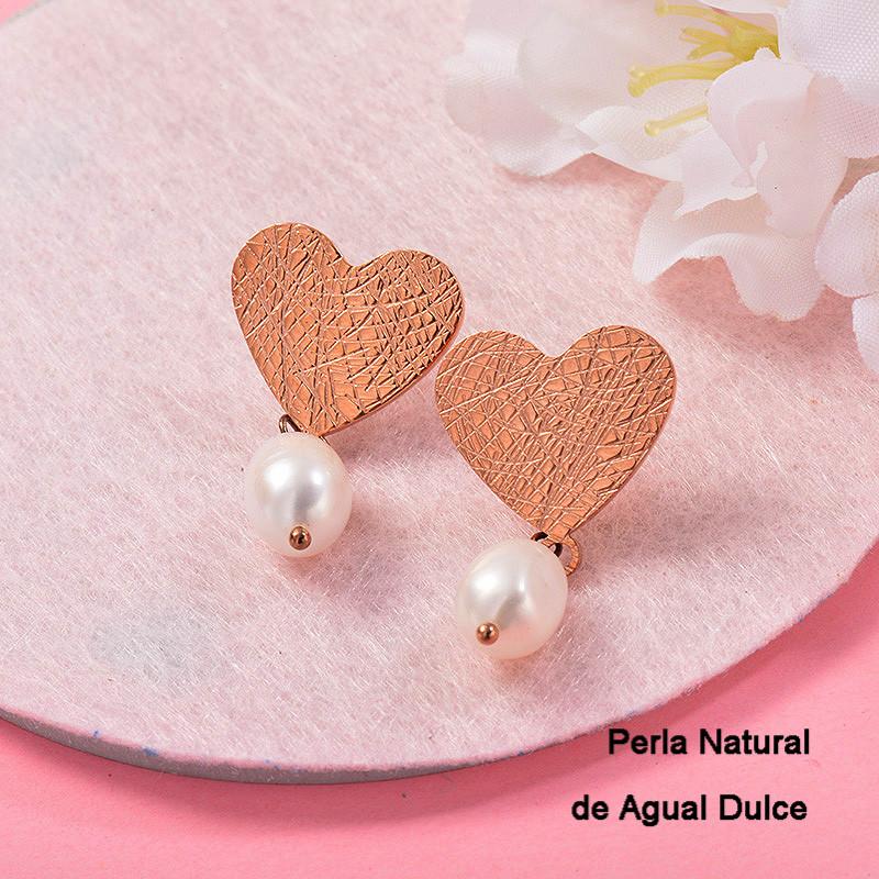 Aretes con perla Natural en acero inoxidable -SSEGG143-9121
