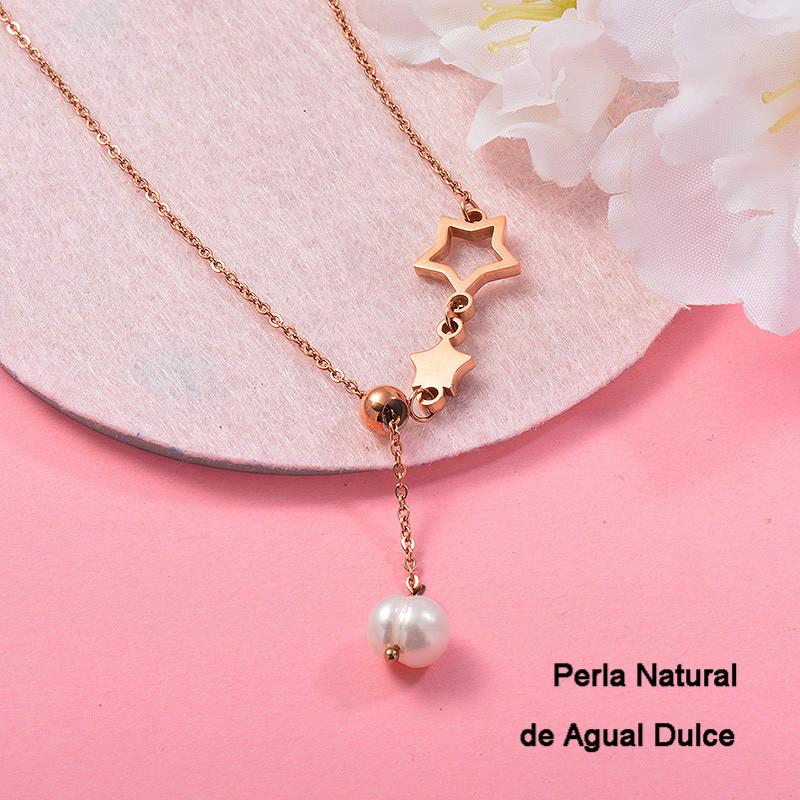 Collares con perla Natural en acero inoxidable -SSNEG143-13012