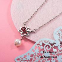 Collares con perla Natural en acero inoxidable -SSNEG143-12526
