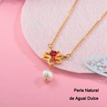 Collares con perla Natural en acero inoxidable -SSNEG143-12534
