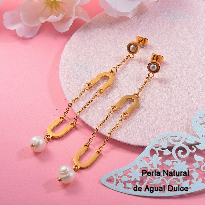 Aretes con perla Natural en acero inoxidable -SSEGG143-9310