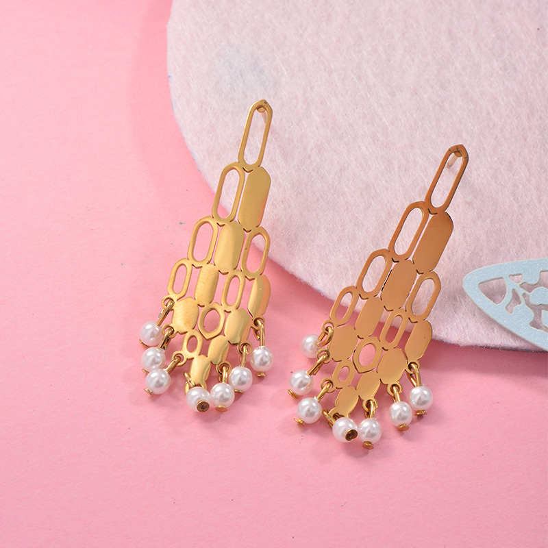 Aretes con perla Natural en acero inoxidable -SSEGG143-9308