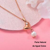 Collares con perla Natural en acero inoxidable -SSNEG143-12075
